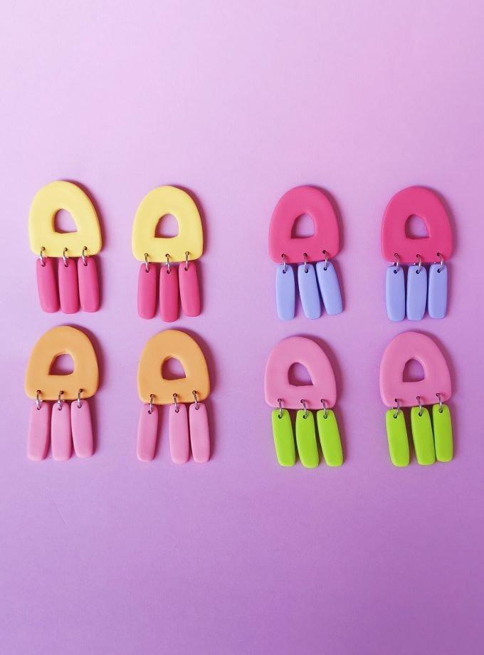 Pendientes Medusa de colores pastel
